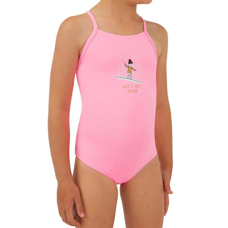 Badpak voor surfen meisjes Hanalei 100 pastelroze