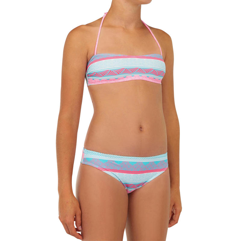 Bikini Niña Completo Top y Braguita Clásica Surf Olaian Estampado