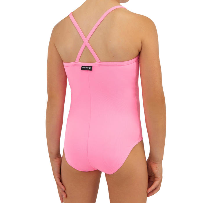 Badeanzug Surfen Hanalei 100 Mädchen hellrosa
