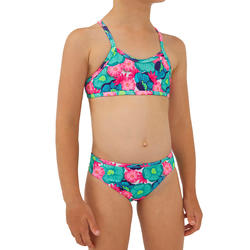 GIRLS' SURF SWIMSUIT TRIANGLE TOP AND BOTTOM BONI 100 - TURQUOISE