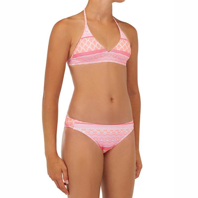 GIRL'S SURF SWIMSUIT HALTERNECK TOP AND BOTTOMS TAMI 100 CORAL