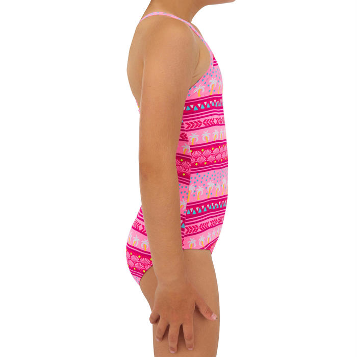 MAILLOT DE BAIN SURF FILLETTE ROSE HANALEI 100