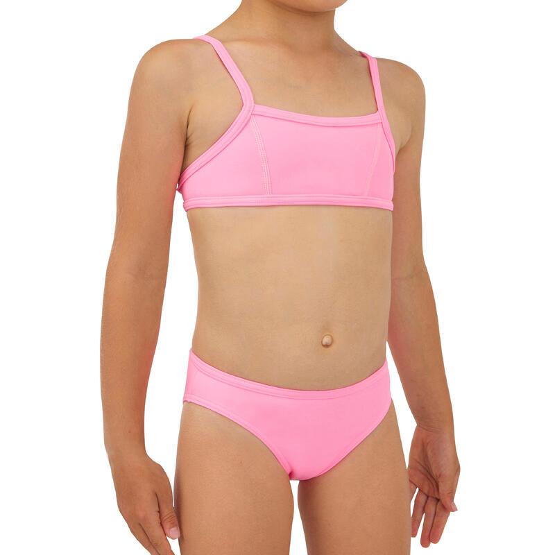 GIRLS' two-piece SURFING swimsuit BIKINI TOP BALI 100 PINK