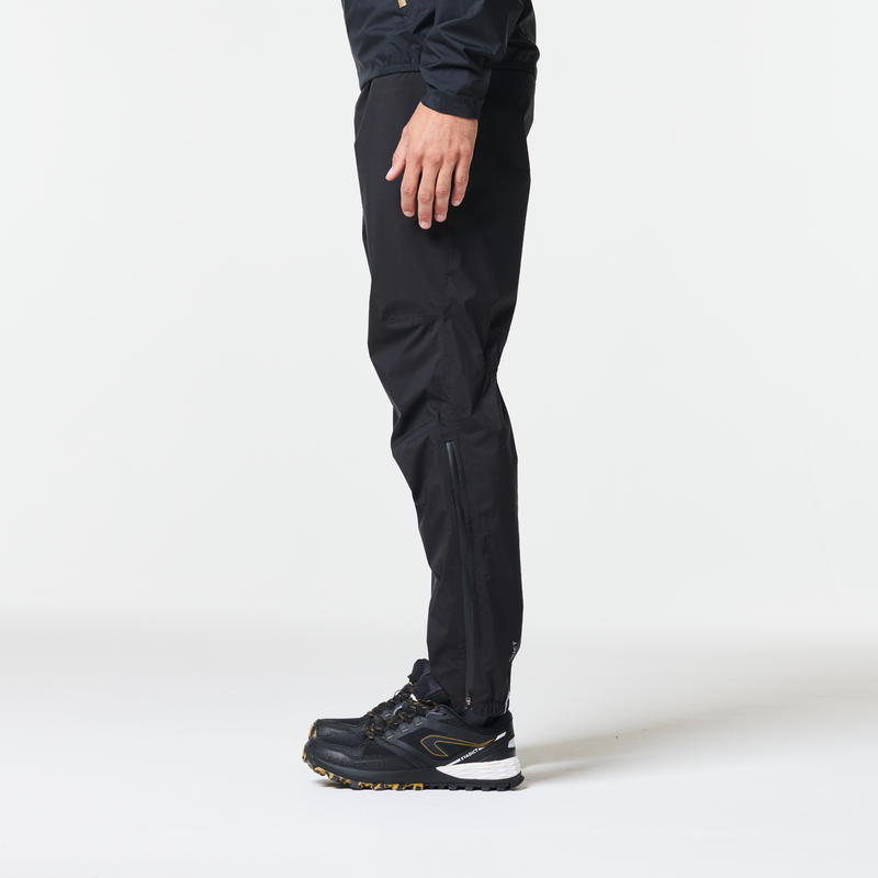 Men's Trail Running Waterproof Rain Trousers - black