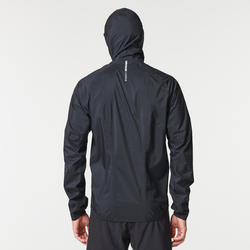 Veste imperméable trail running homme noir bronze