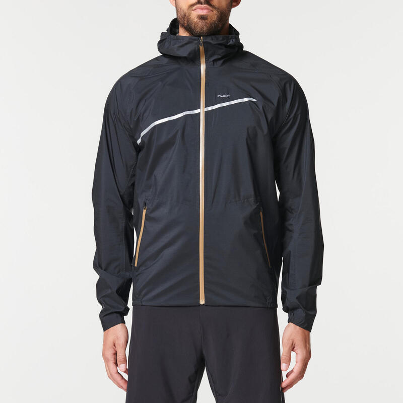 Chaqueta Trail Running Hombre Negro Bronce Impermeable