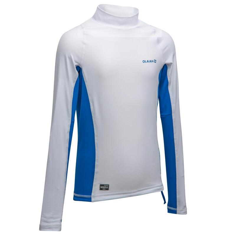 Camiseta Protección Solar Surf Niños Olaian 500 Blanco Manga Larga