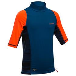 UV-Shirt Top 500 S Kinder Jungen blau/rot