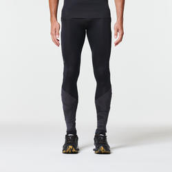 MEN'S TRAIL RUNNING TIGHTS - BLACK/GREY