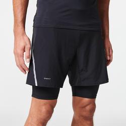 男款越野跑緊身短褲Comfort - 黑色