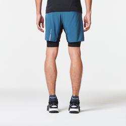 男款舒適越野跑緊身短褲-灰色