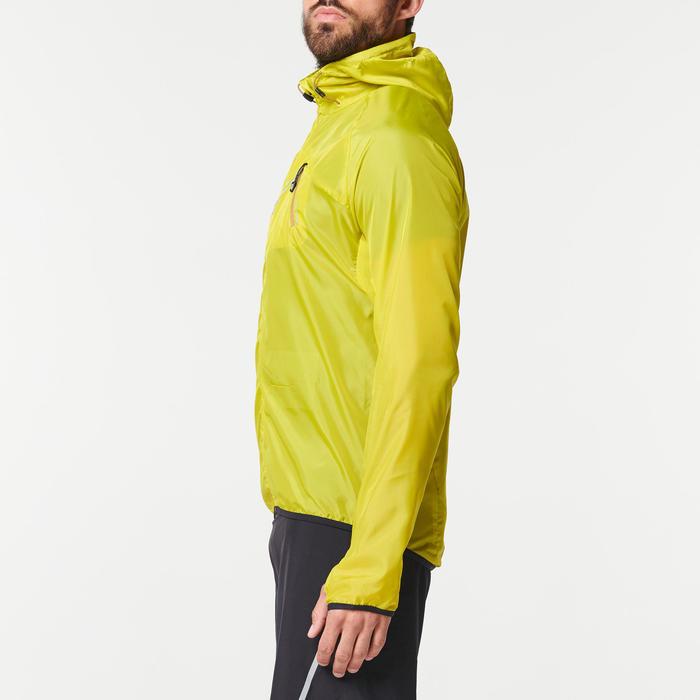 Veste coupe-vent trail running homme vert jaune