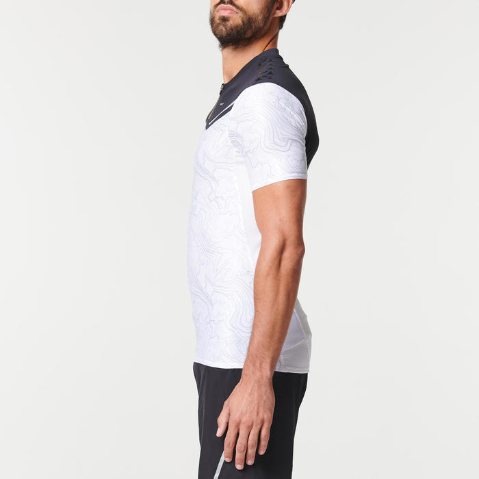 Trailshirt met korte mouwen voor heren zwart/wit met print