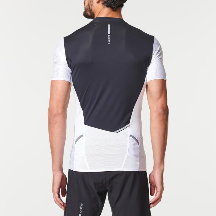 Tee shirt manches courtes trail running zip homme blanc noir géographique