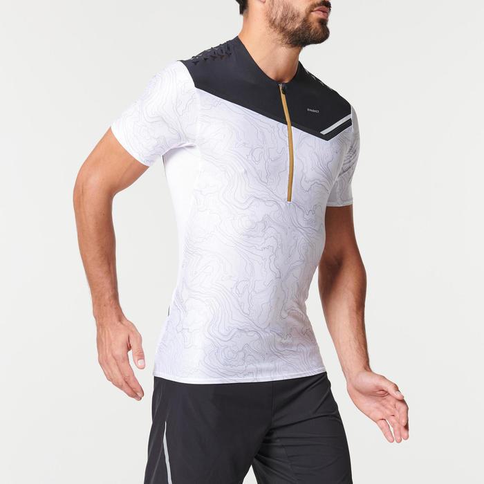 男款圖樣式越野跑短袖T恤 - 白黑配色