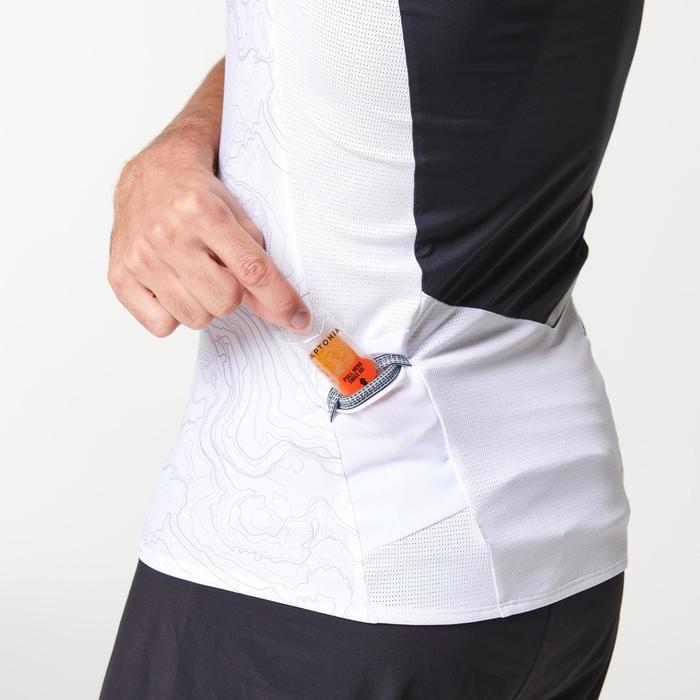 Tee shirt manches courtes trail running homme blanc noir géographique