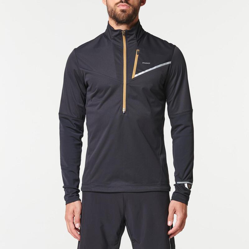 Camiseta Softshell Trail Running Hombre Negro Bronce Manga Larga