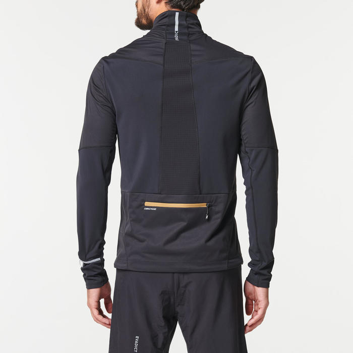 Maillot veste softshell manches longues trail running homme noir bronze