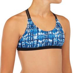 High neck top voor surfbikini meisjes Bondy 500 blauw
