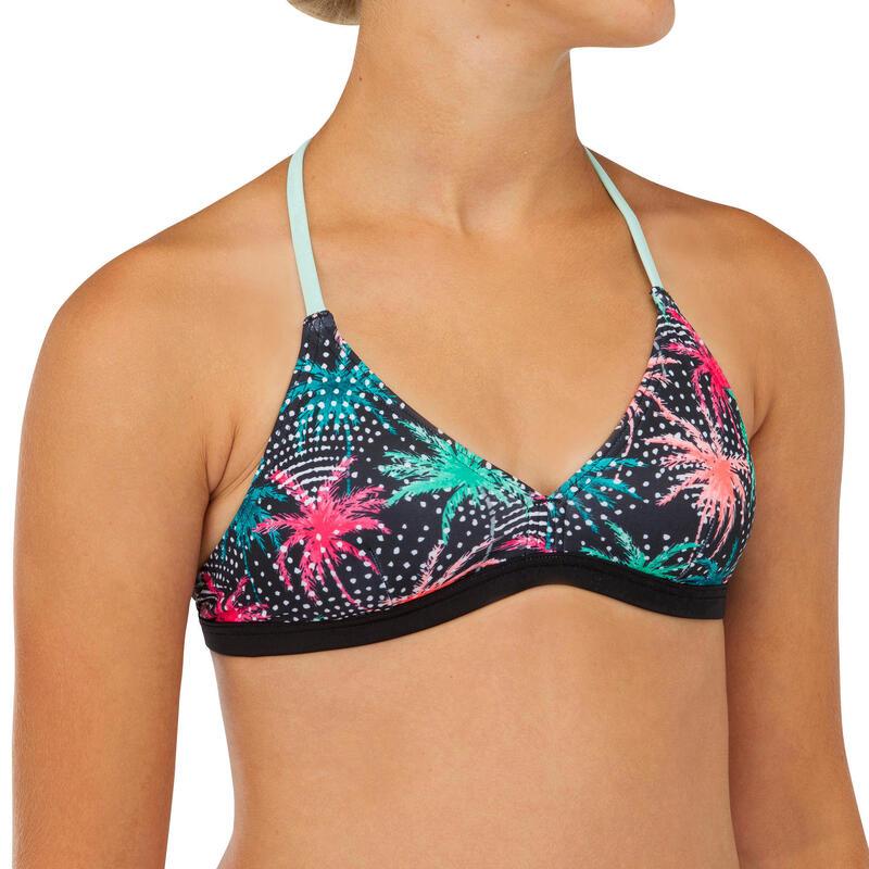 Bikinitop voor surfen meisjes Betty 500 triangel zwart