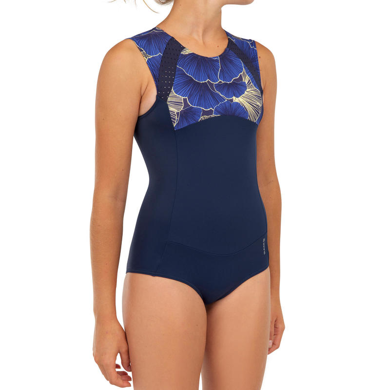 Costum întreg surf MANLY 900 Negru-Albastru Fete
