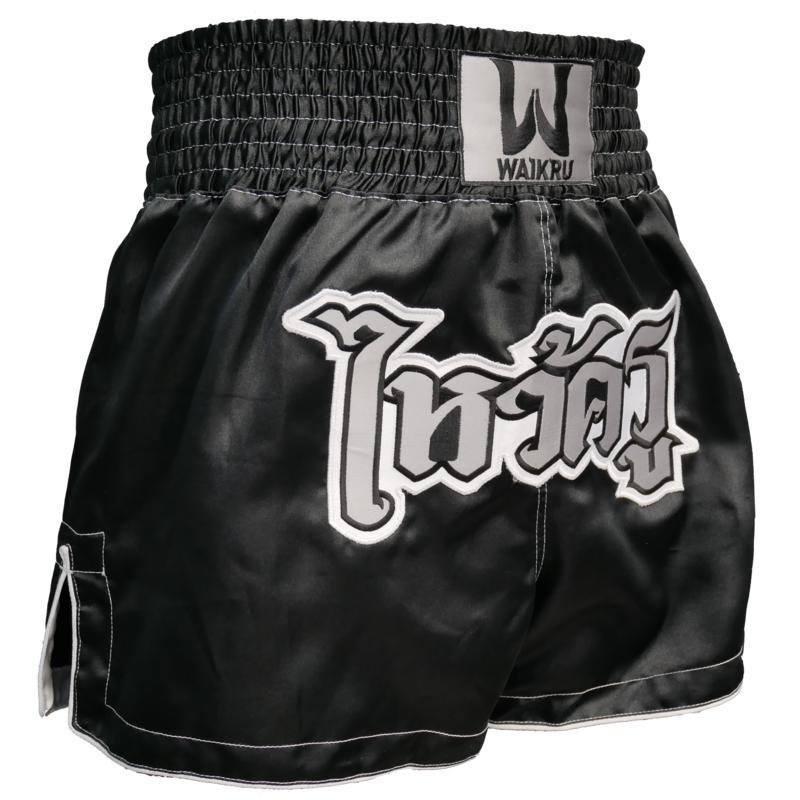 กางเกงมวยไทยขาสั้นสำหรับผู้ชาย (สีดำ/เงิน)