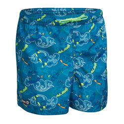 KIDS' BOARDSHORTS 100 - CLOUDS TURQUOISE