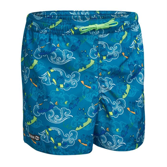 Maillot de bain Boardshort garcon 100 Kid turquoise