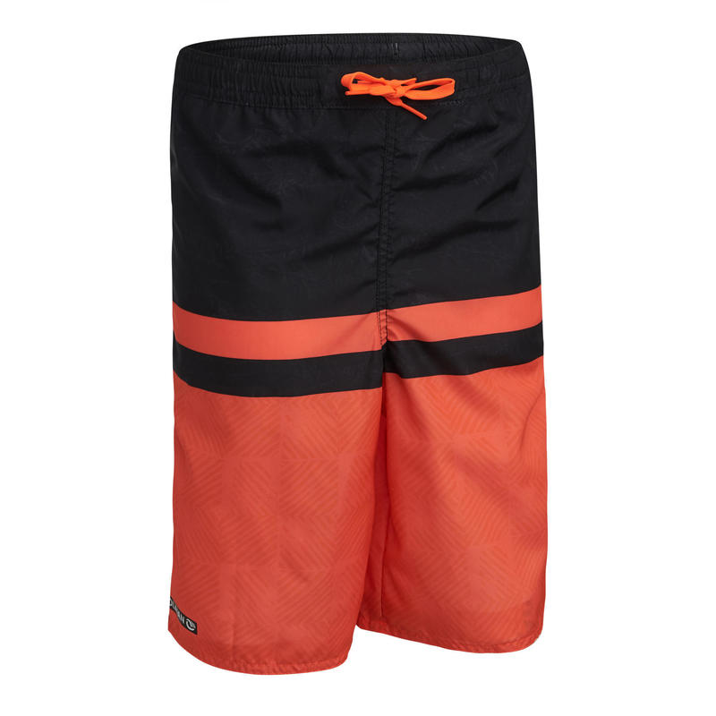long swim shorts - red