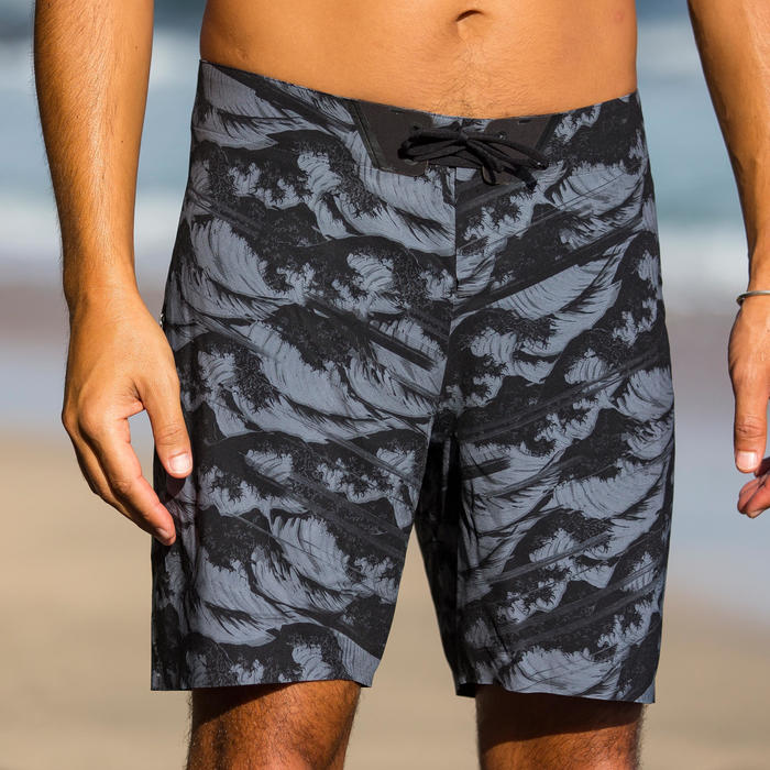 標準衝浪褲900-浮世繪款黑色