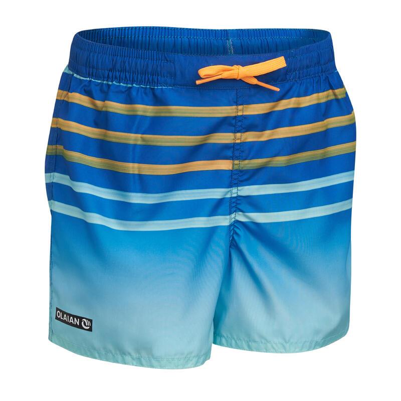 Kids' swim shorts 100 - striped blue