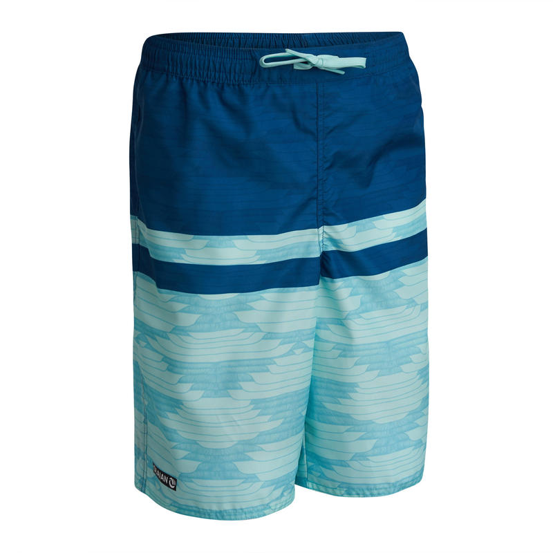 short de bain long bleu