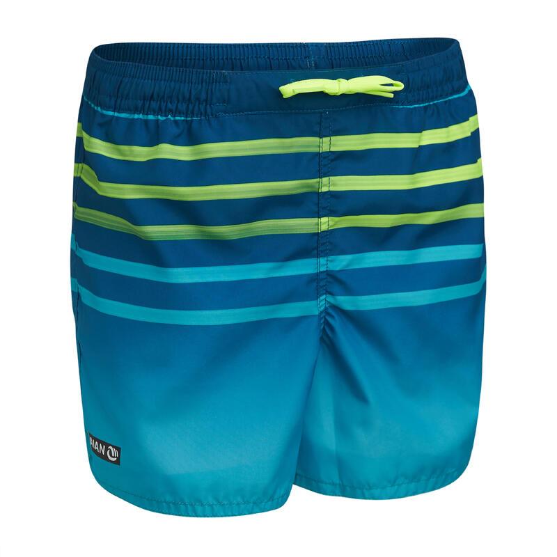 Kids' swim shorts 100 - striped turquoise