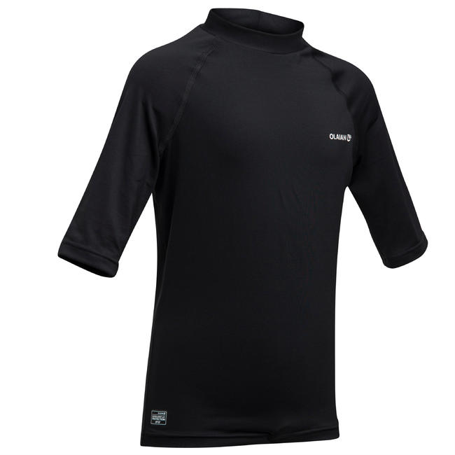 KIDS' UV RASH GUARD SURFING TOP 100 - BLACK