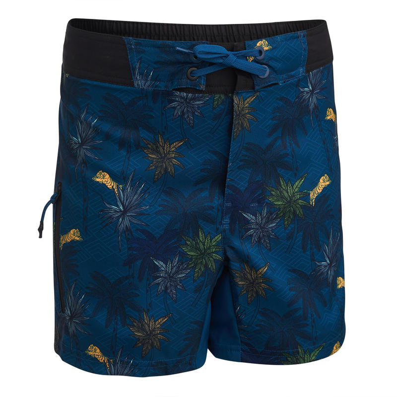 Çocuk Deniz Şortu- Kısa Boardshort - Petrol mavisi - Bs 500