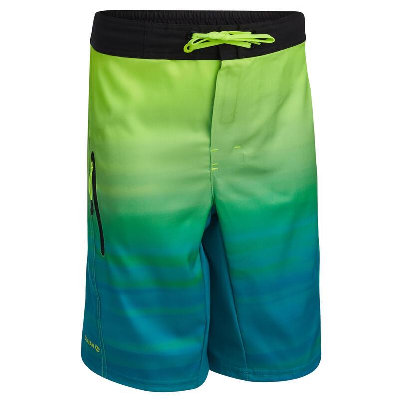 Çocuk Deniz Şortu - Boardshort - Yeşil - Bs 500