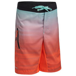 Maillot de bain Boardshort garcon 500L TWEEN OFFSHORE ORANGE