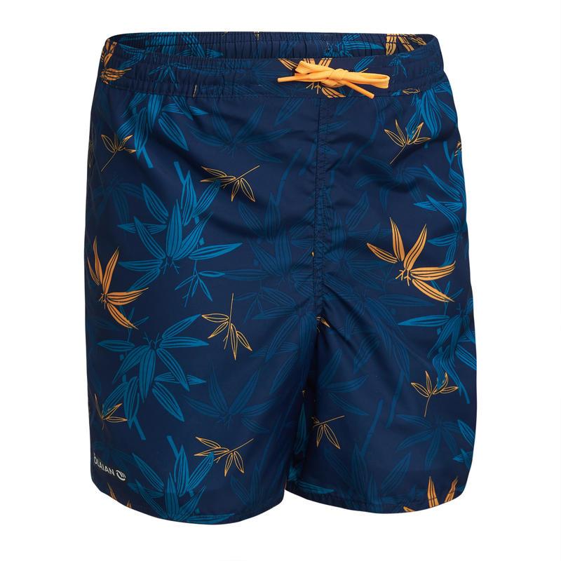 BOARDSHORT BS 100 Tween Niño Bambú Azul Oscuro