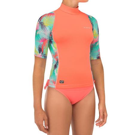 Playera Surf Niña Protección Solar Olaian 500 Manga Corta Coral