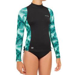 女童款抗UV長袖T恤500-黑色/薄荷綠色