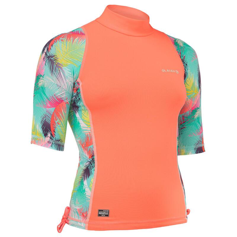 tee shirt anti uv surf top 500 CORAIL fille
