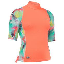 UV-Shirt Top 500 S kurzarm Surfen Aina Mädchen koralle