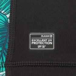 Girls' anti-UV long-sleeved T-shirt 500 - black/mint