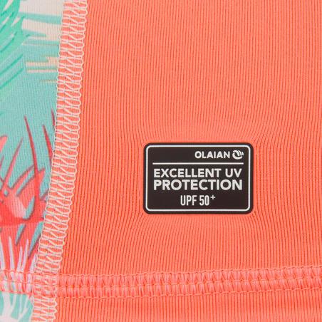 Girls' Short-Sleeve anti-UV Surfing T-Shirt 500 - Coral