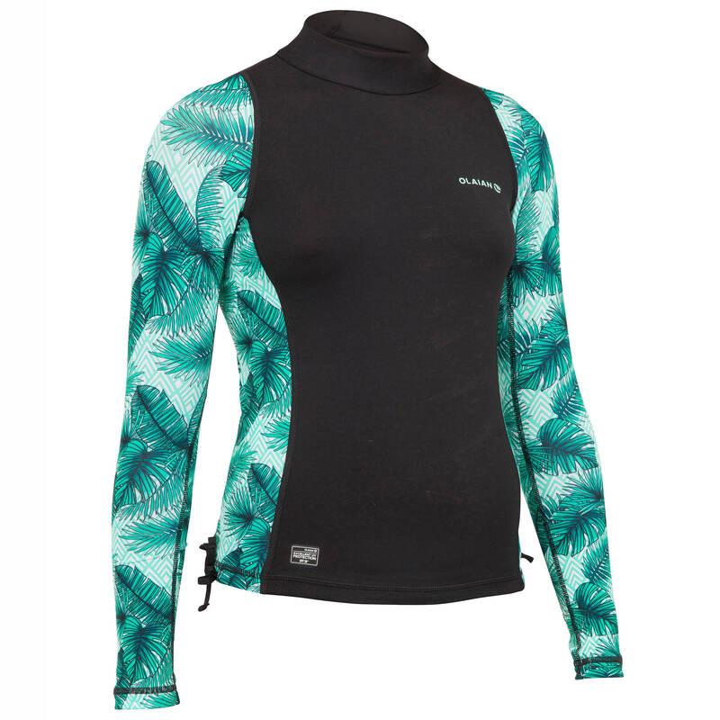 TOPY NA OCHRANU PŘED SLUNCEM A CHLADEM Surfing a bodyboard - UVTOP 500 L GIRL AISAI OLAIAN - Plavky a trička s UV ochranou