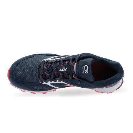 XT7 women's trail running shoes dark blue and pink