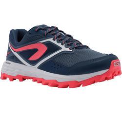 女款越野跑鞋XT7深藍色配粉紅色