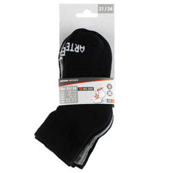 Halfhoge tennissokken voor kinderen RS 500 zwart grijs 3 paar