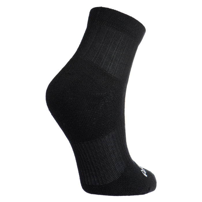 Kids' Tennis Socks RS 500 Mid Tri-Pack - Black/Grey