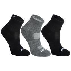 3雙入兒童款中筒網球運動襪RS 500-黑色/灰色